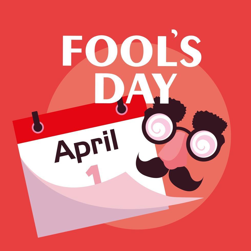 april dwazen dag met gekke gezichtsaccessoires en kalender vector