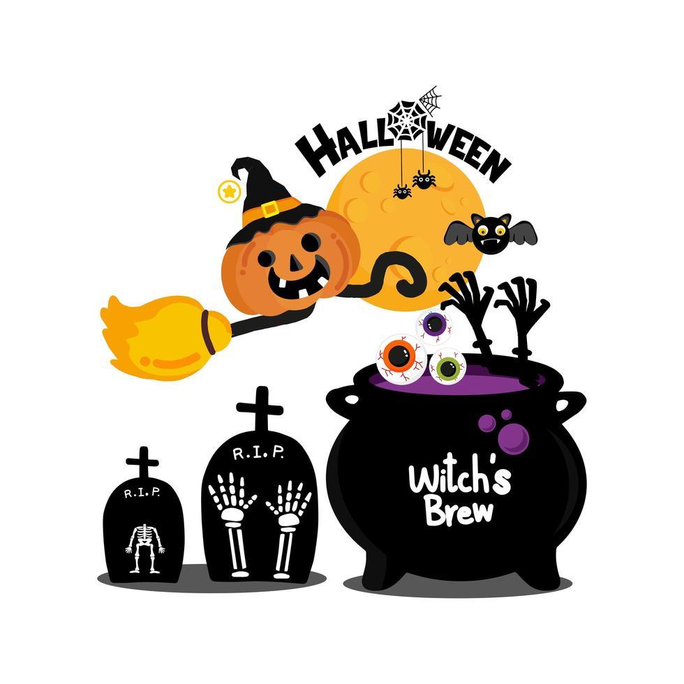 griezelige pictogrammen voor halloween-viering vector