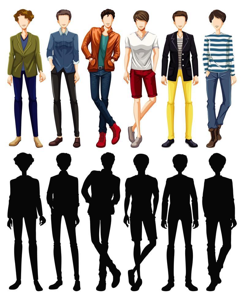 set van mannelijke karakter met silhouetten vector