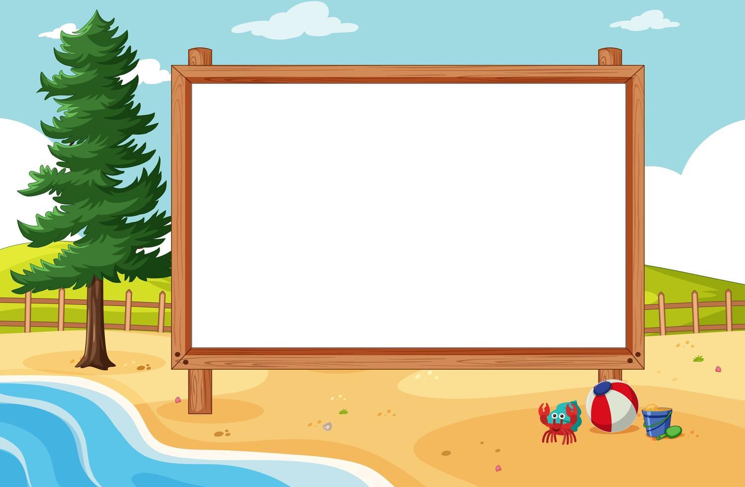 leeg houten frame in strandtafereel vector