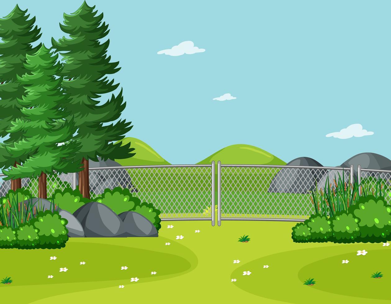 lege hemel in natuurparkscène met bomen vector