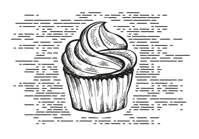 Vrije Hand Getrokken Cupcake Achtergrond vector