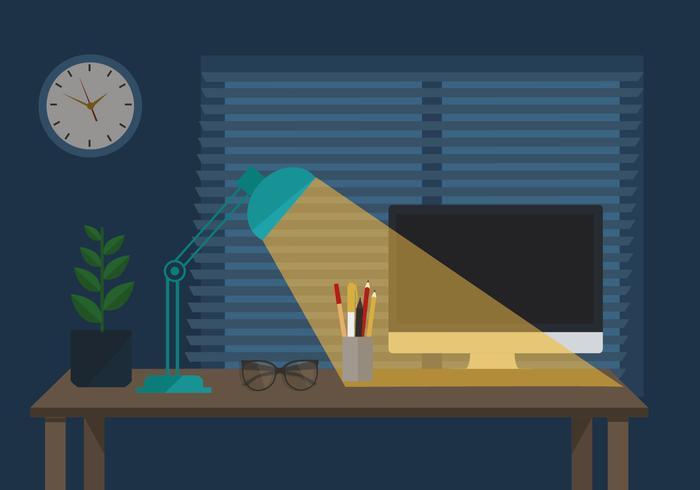 Gratis Workspace Vector Nacht Illustratie