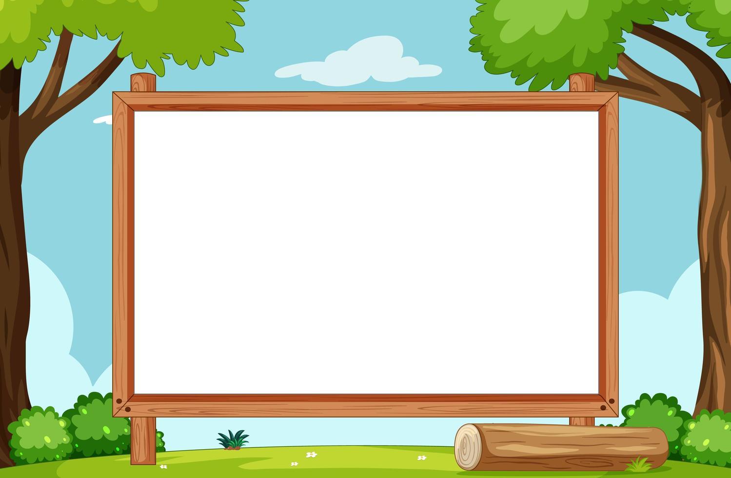 leeg houten frame in natuurpark vector