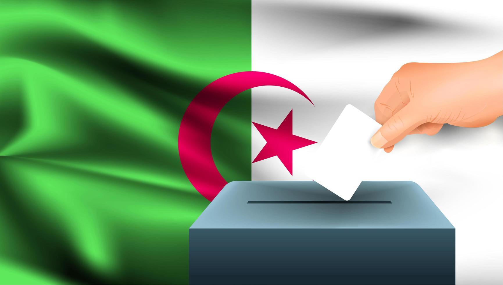 hand stemming in doos met Algerijnse vlag zetten vector