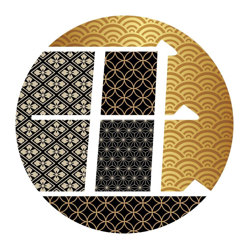 Nieuwjaarsrond bord met Japanse patronen vector