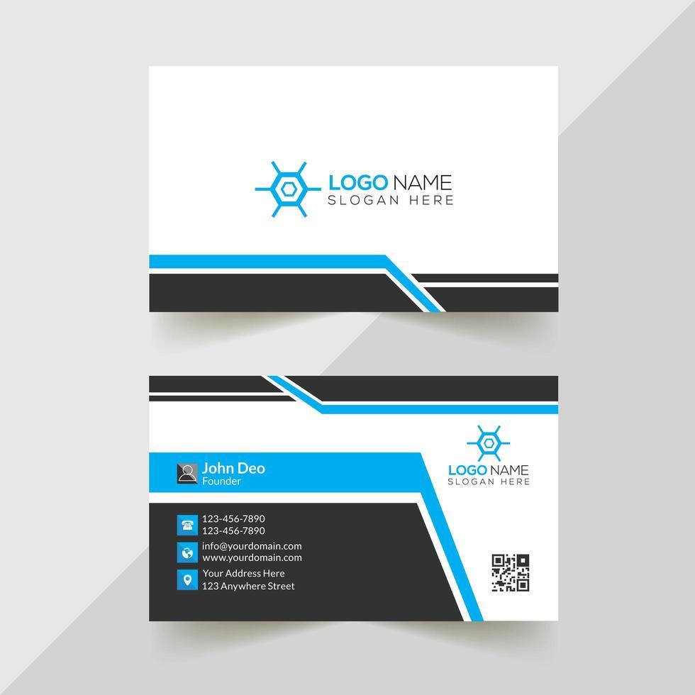 wit, blauw en zwart zakelijk visitekaartjeontwerp vector