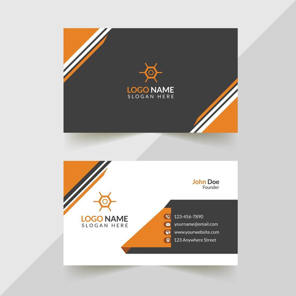 grijs, oranje en wit zakelijk visitekaartjeontwerp vector