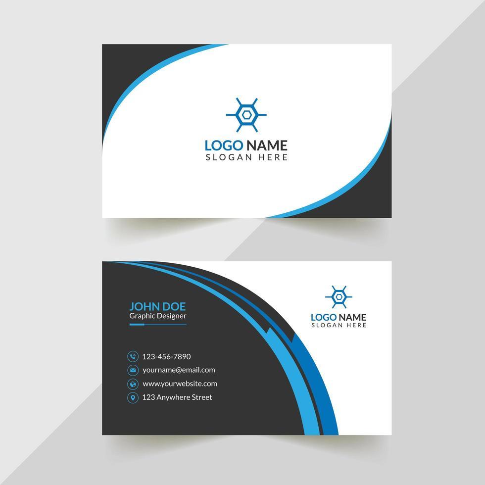 wit, zwart en blauw creatief visitekaartjeontwerp vector