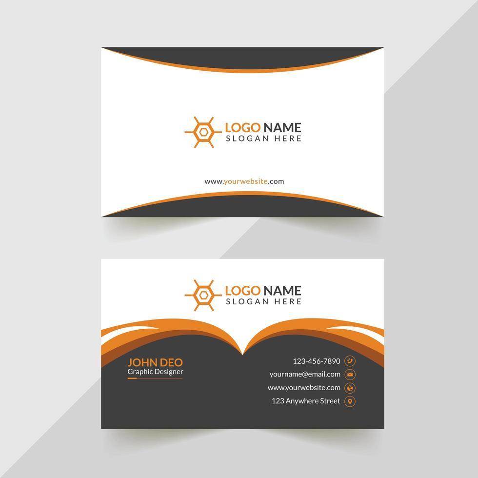 wit, grijs en oranje creatief visitekaartjeontwerp vector