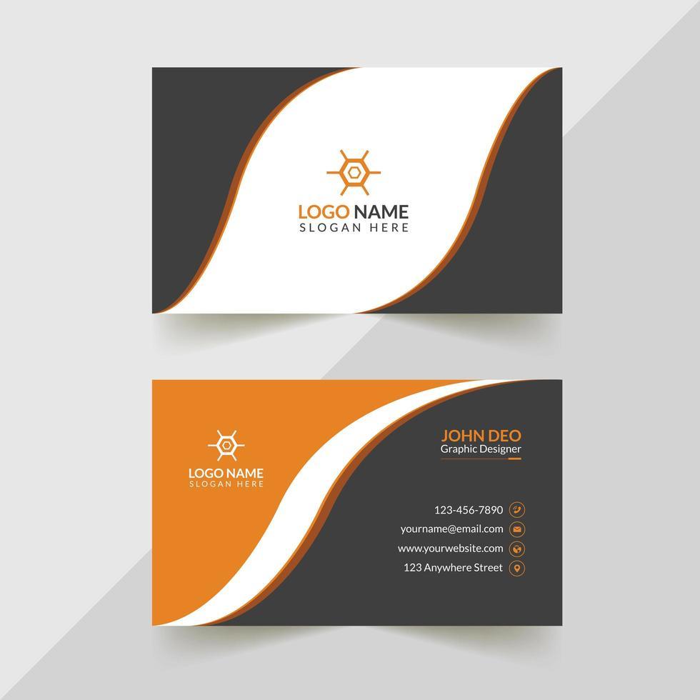 oranje, grijs en wit creatief visitekaartjeontwerp vector