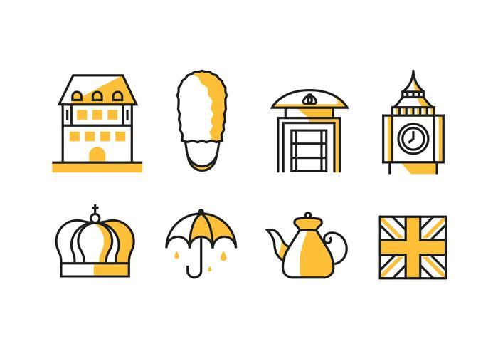 De Pictogrammen van het Koninkrijk Groot-Brittannië / Engeland vector