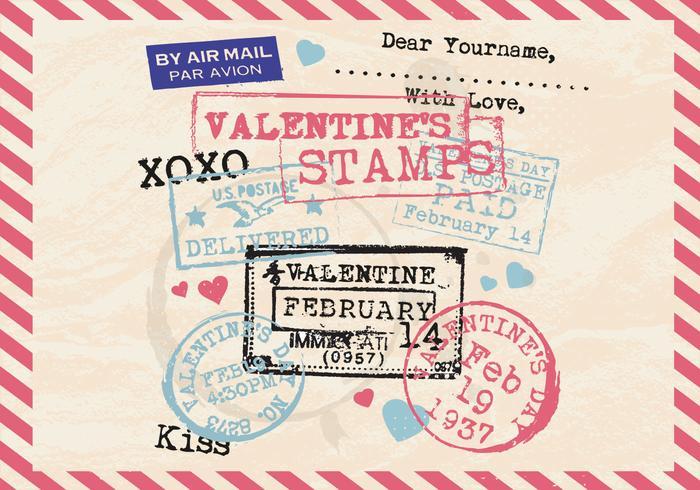 De postzegels van de valentijnskaart Oude briefkaart Vector