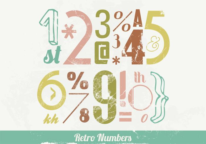 Retro Numbers en Signs Vector