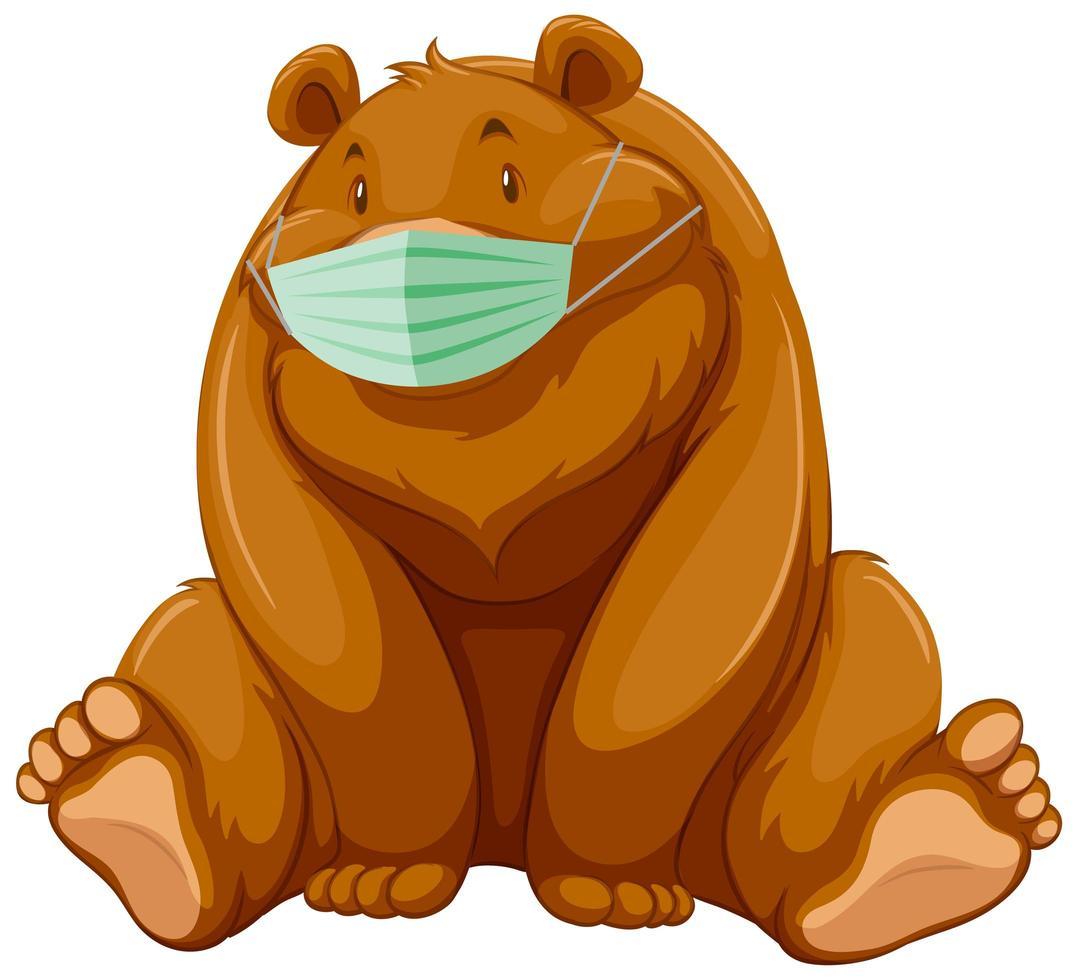 zittende beer stripfiguur masker dragen vector