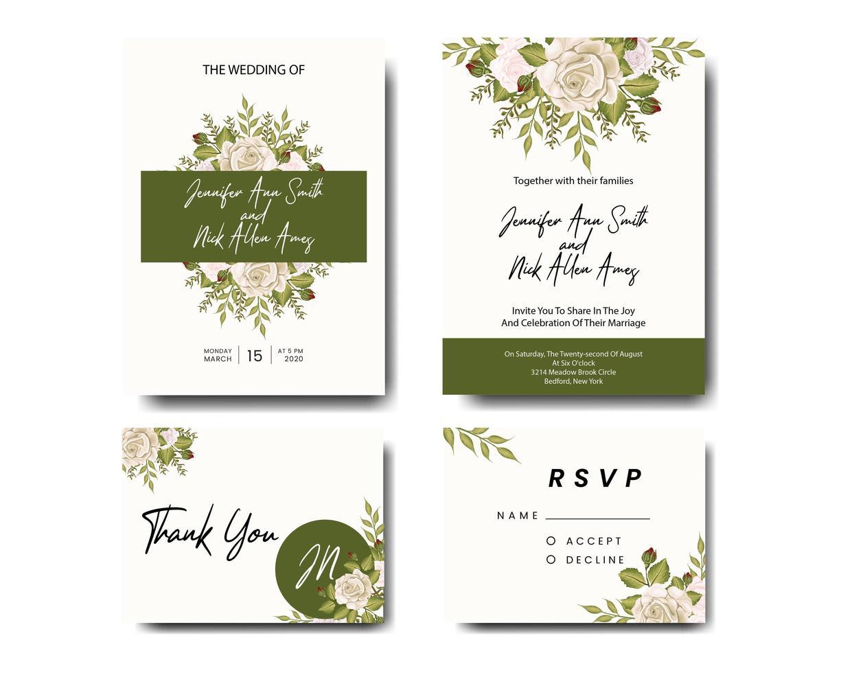 rozen en groene bladeren bruiloft uitnodiging set vector