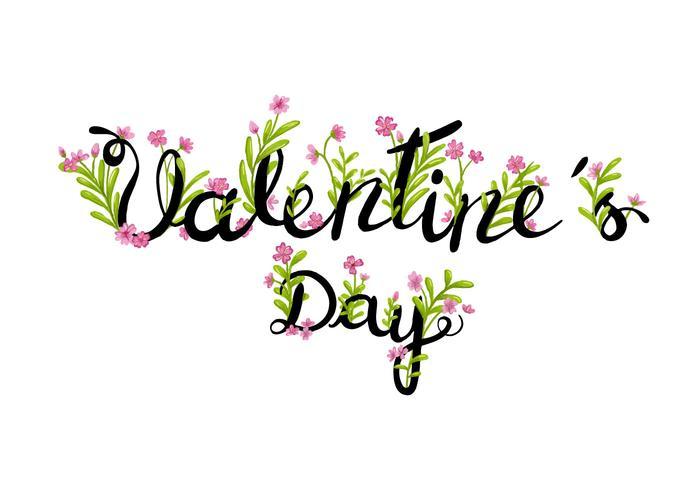 Bloemen Valentijnsdag Lettering vector