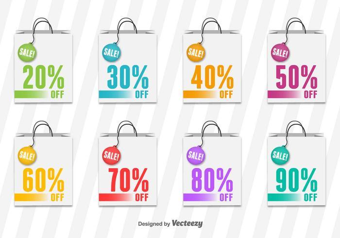 Boodschappentas verkoop vector labels