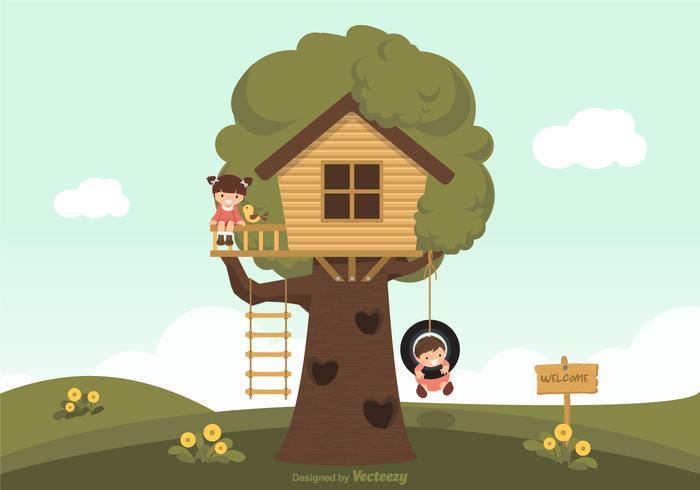 Kinderen Spelen In Een Boom Huis Vector