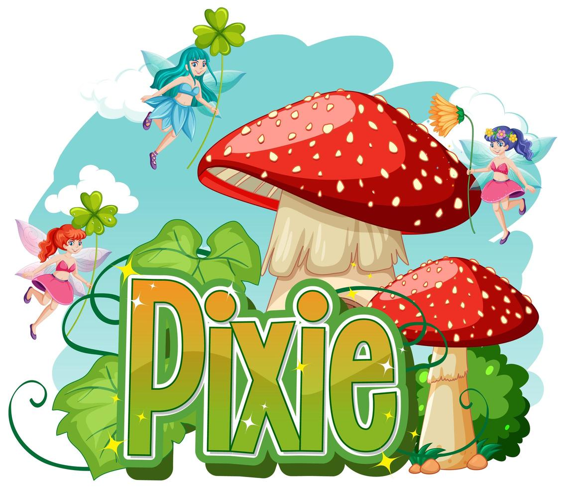 pixie-logo met kleine feeën vector