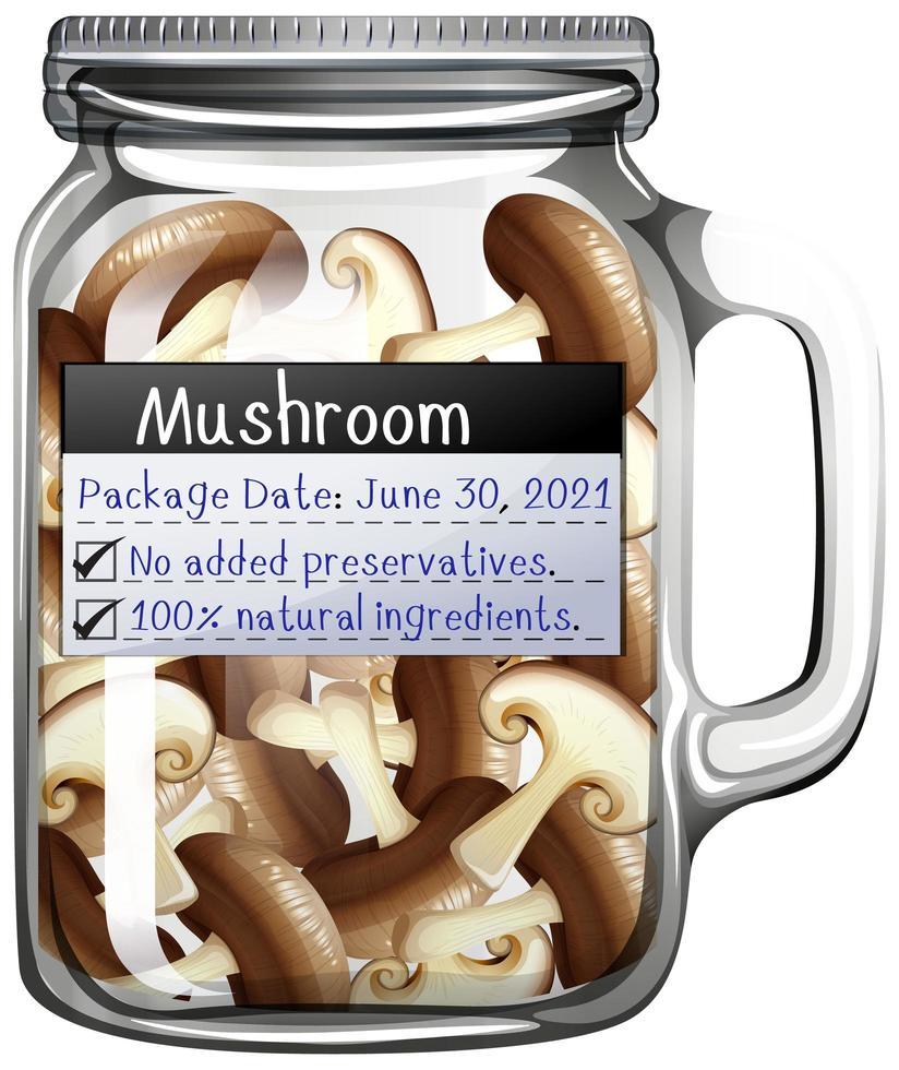 paddenstoel bewaard in glazen pot vector