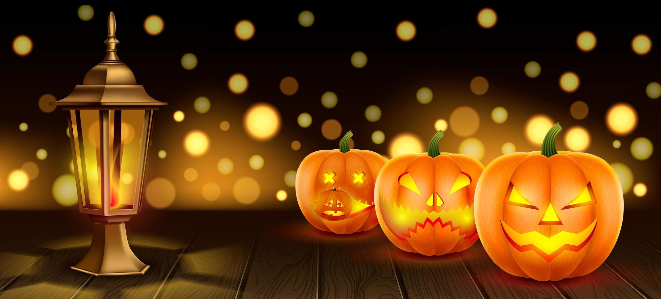halloween pompoen en lantaarn banner vector