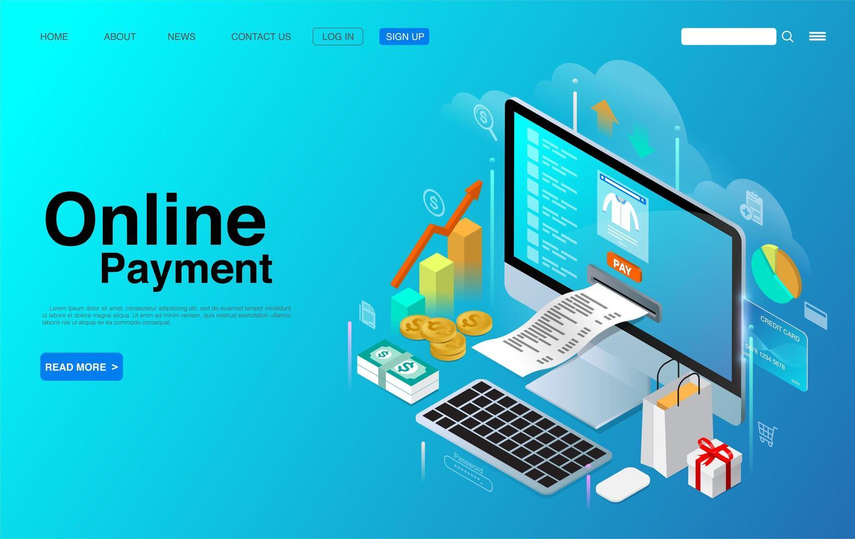 online betaling met computer desktop isometrisch concept vector