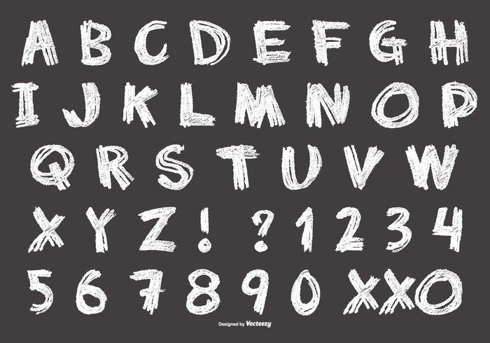 Rommelig krijtstijl alfabet vector