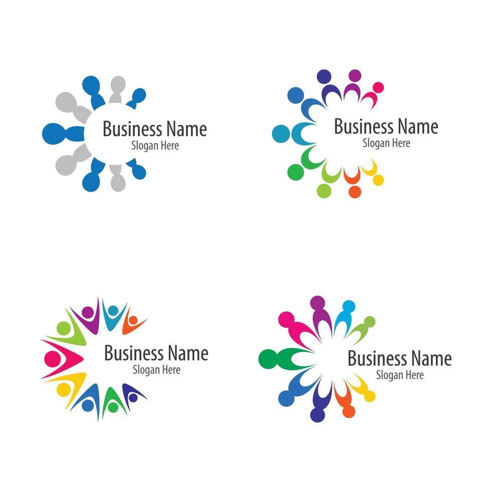 teamwerk icon set van vier vector