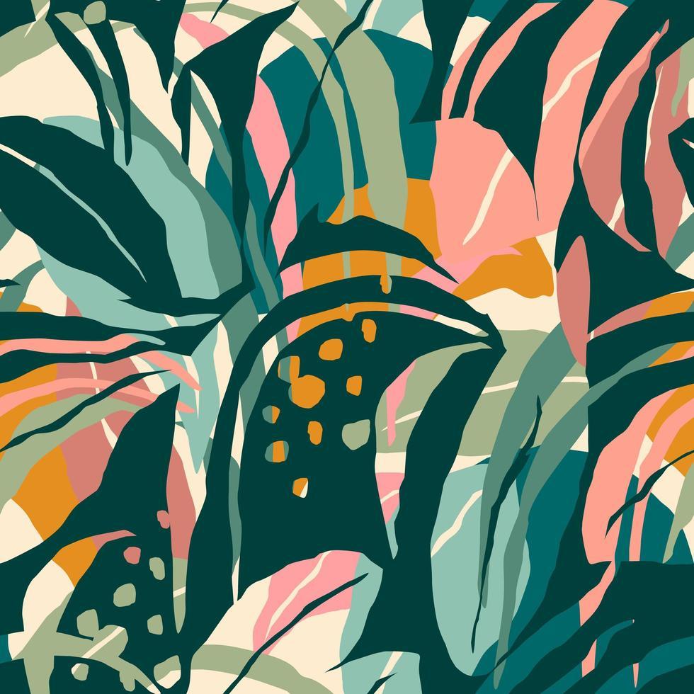artistieke naadloze patroon met abstracte bladeren vector