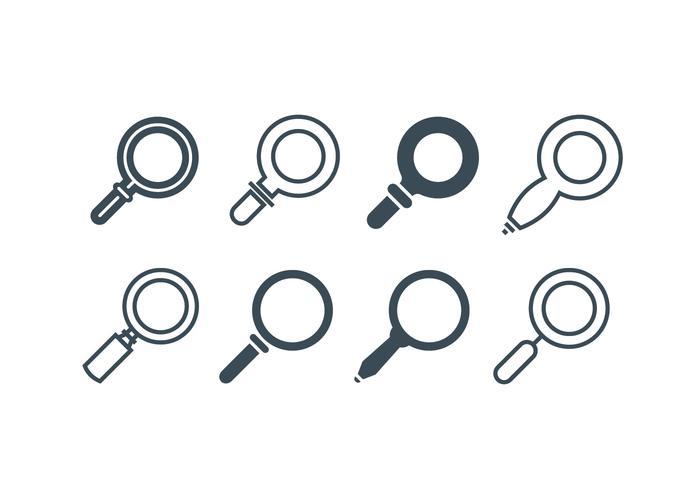 Vergrootglas iconen vector