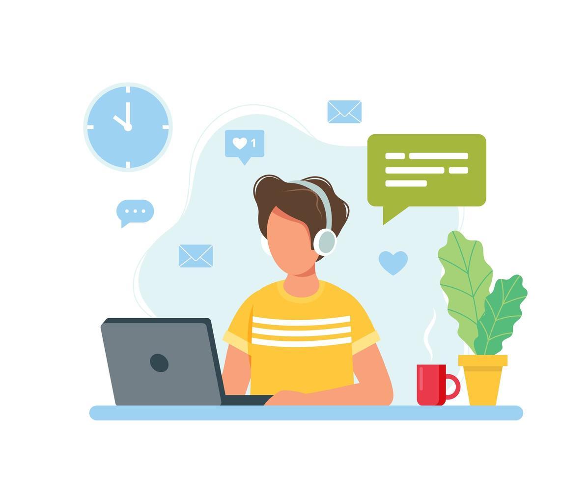 man aan het werk vanuit huis, student of freelancer vector