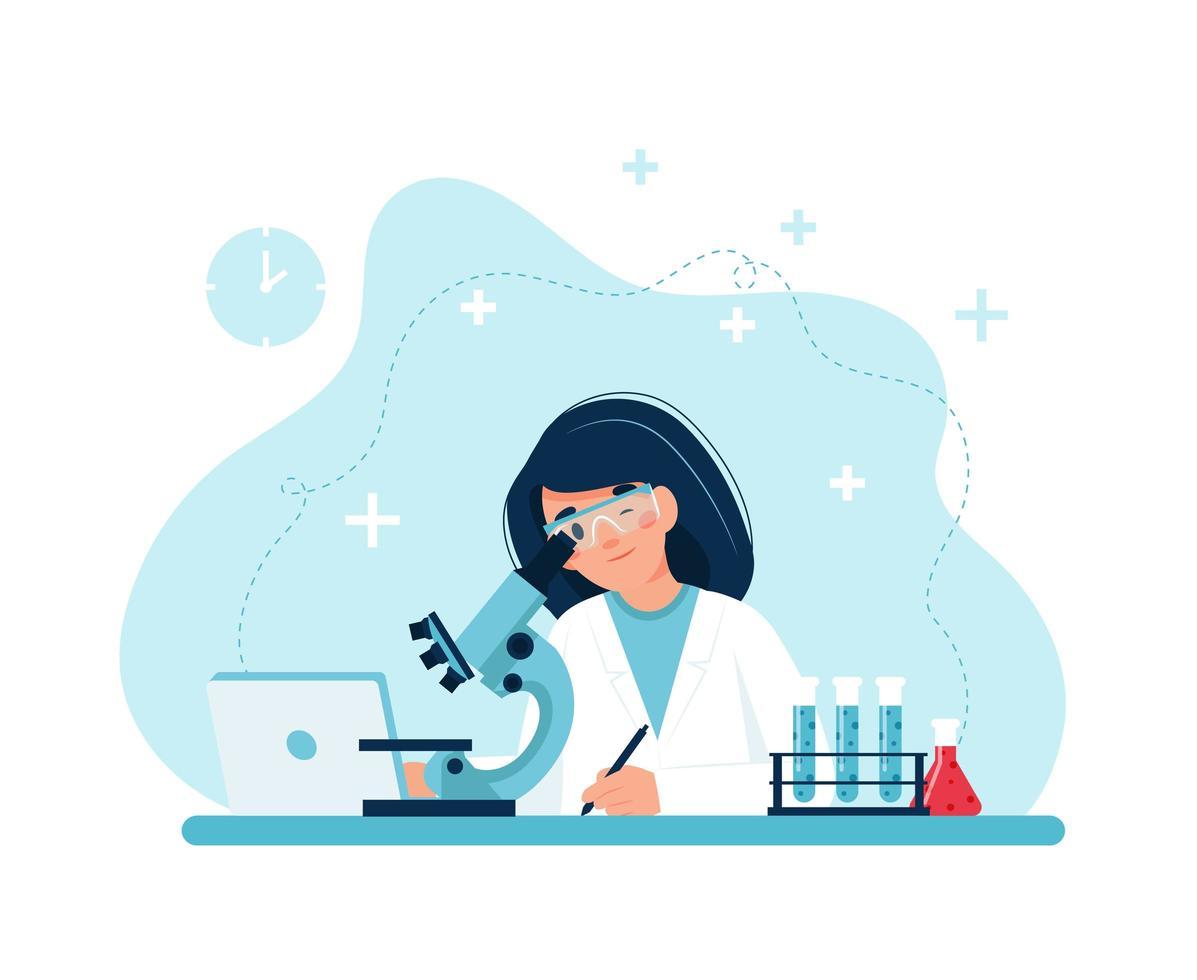 vrouwelijk personage experimenten met microscoop vector