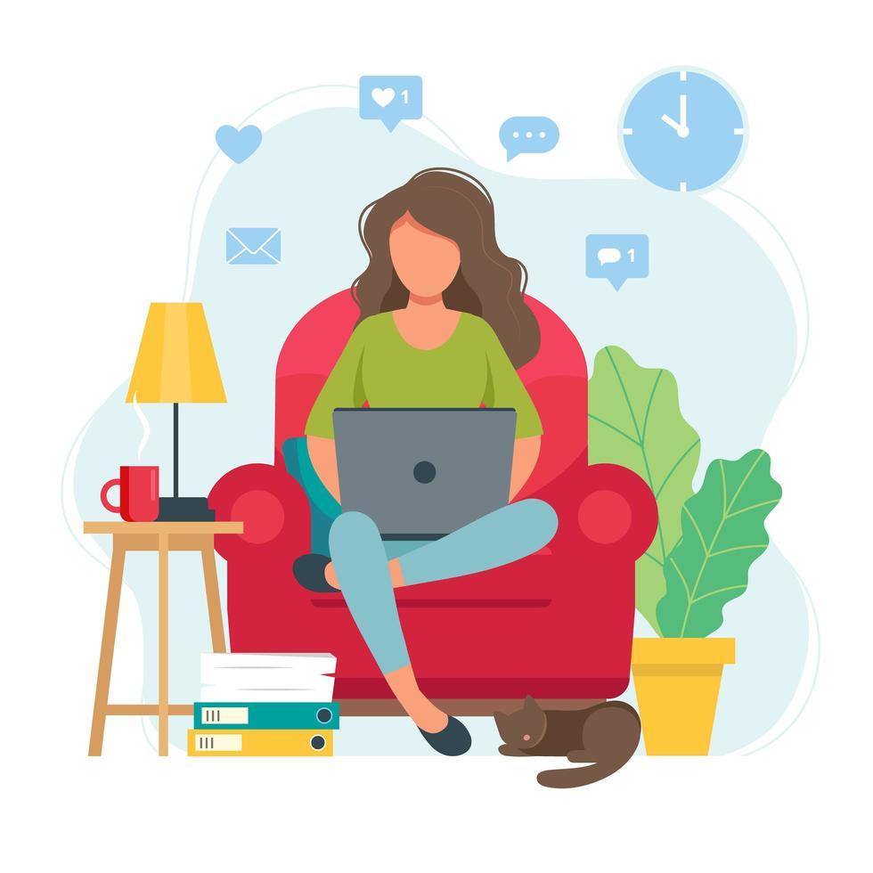 vrouw werken vanuit huis zittend op een stoel vector