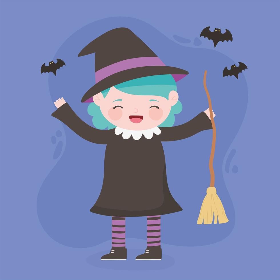 happy halloween, heksenmeisje met bezem vector