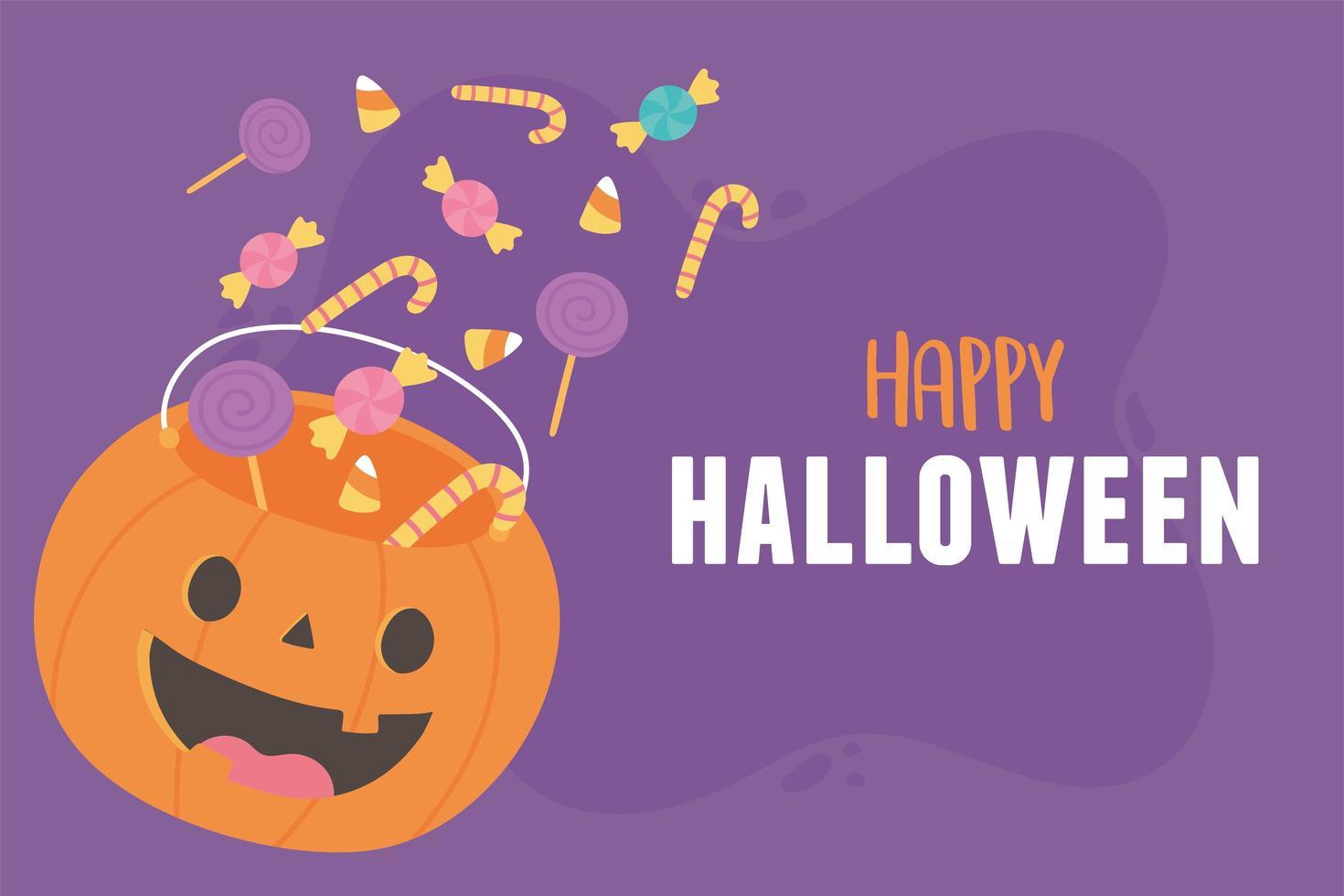 happy halloween pompoen vormige emmer met veel snoepjes vector