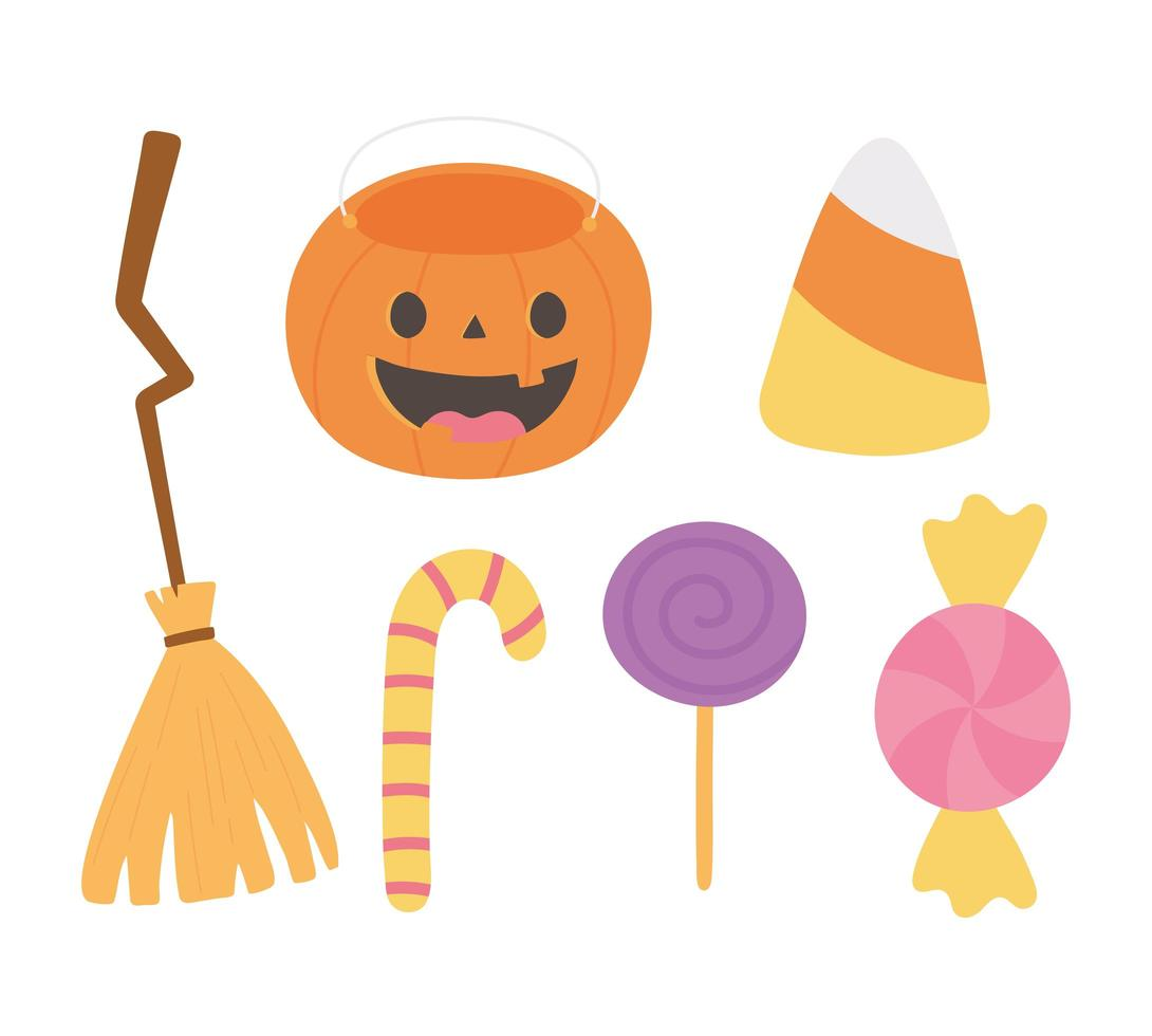happy halloween pompoen, bezem, snoepjes pictogrammen vector