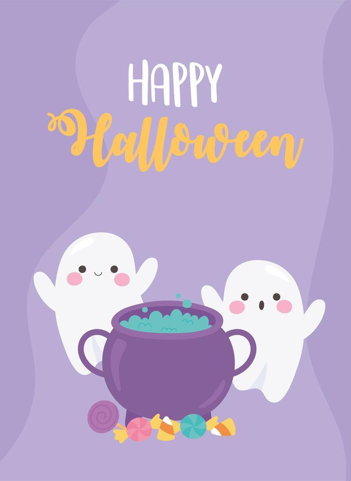 halloween grappige spoken met ketel en snoepjes poster vector