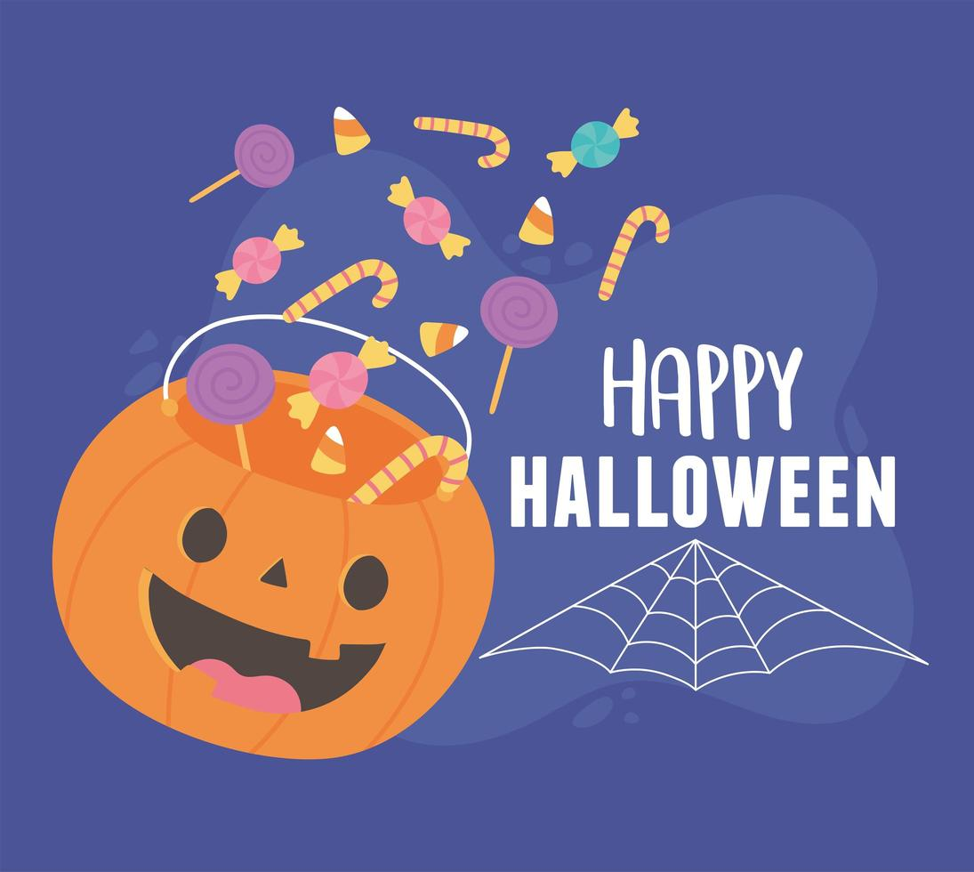 happy halloween vallende snoepjes in pompoen emmer ontwerp vector
