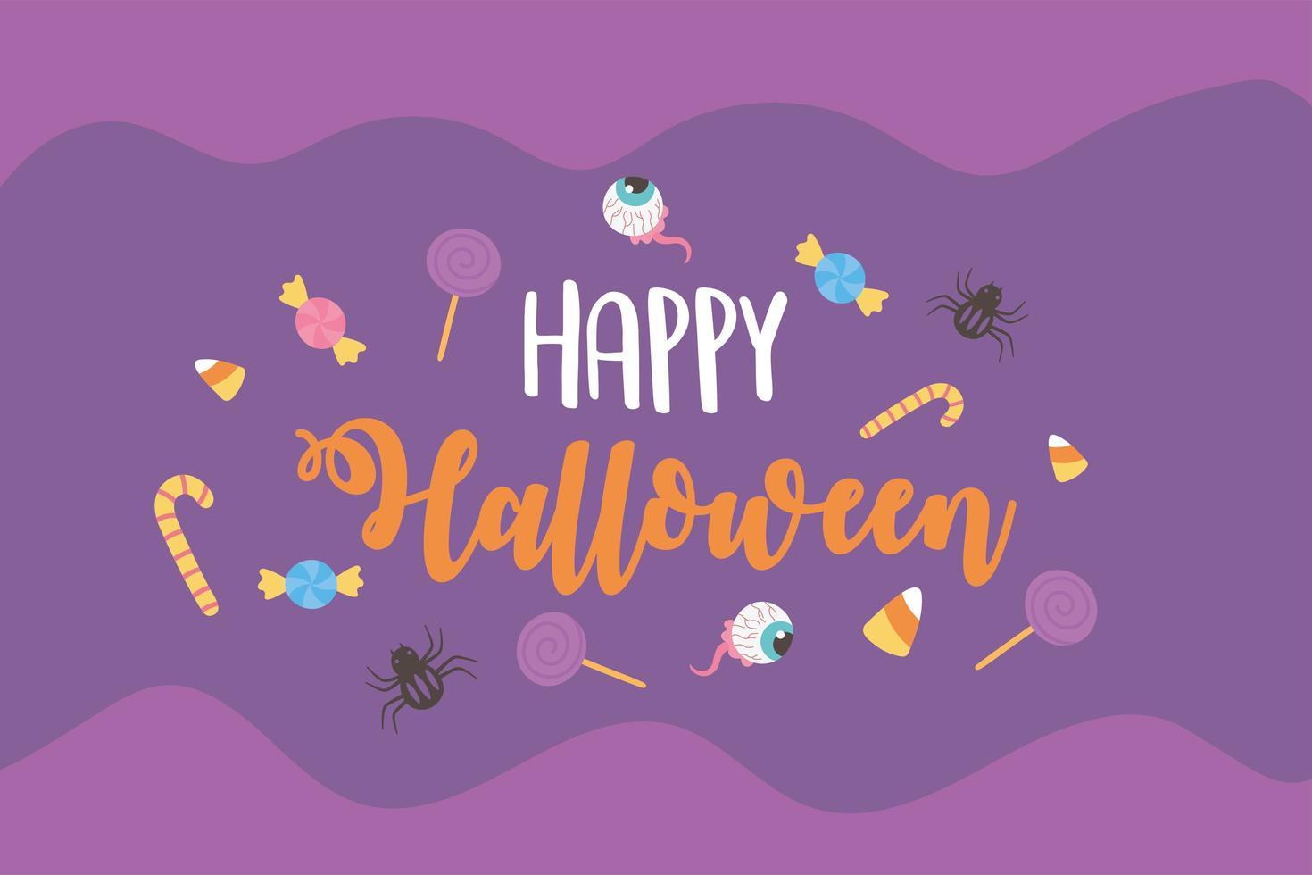 halloween snoepjes, spinnen en griezelige ogen poster vector