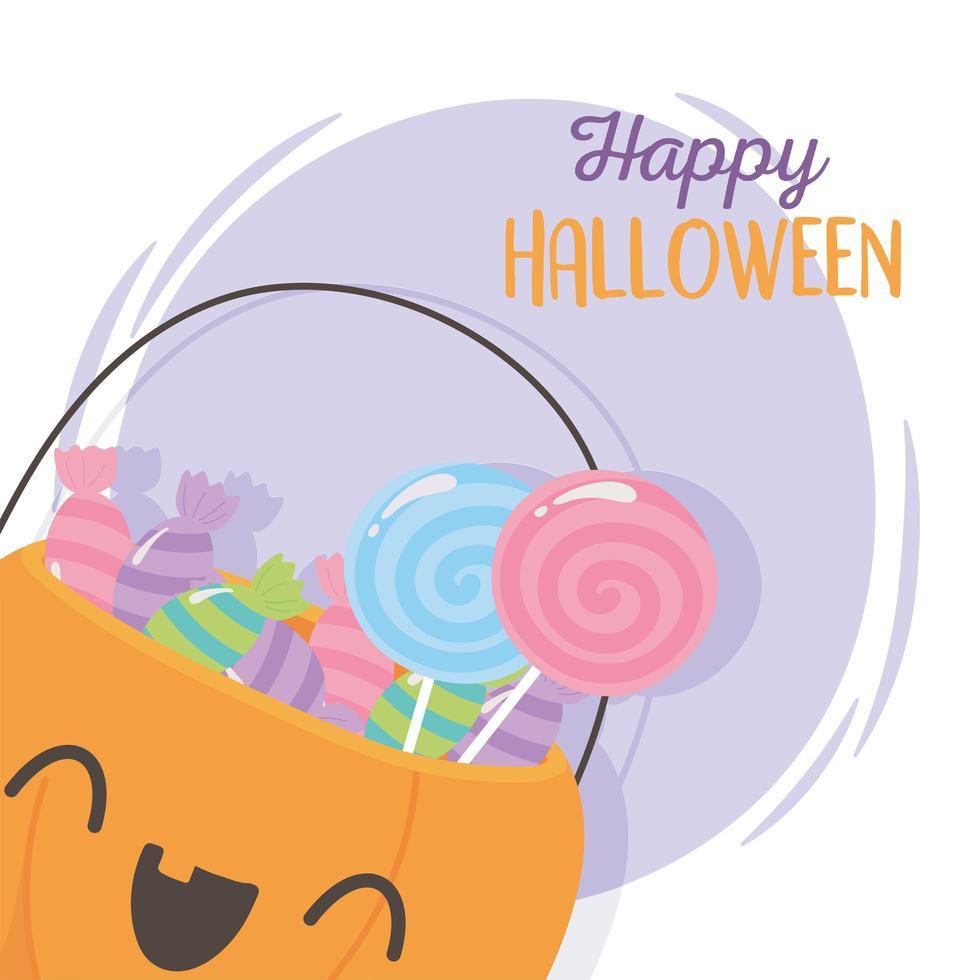 happy halloween, schattige pompoen met zoete snoepjes vector