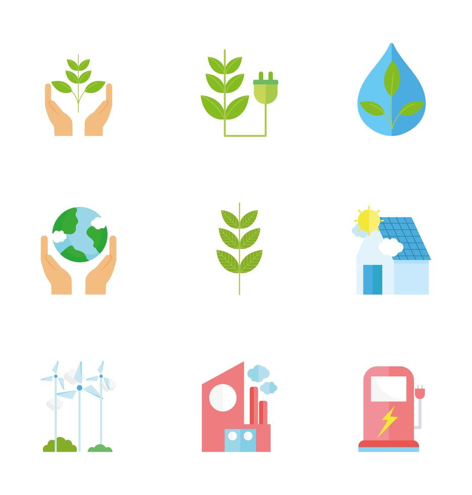 ecologie en recycling icoon collectie vector