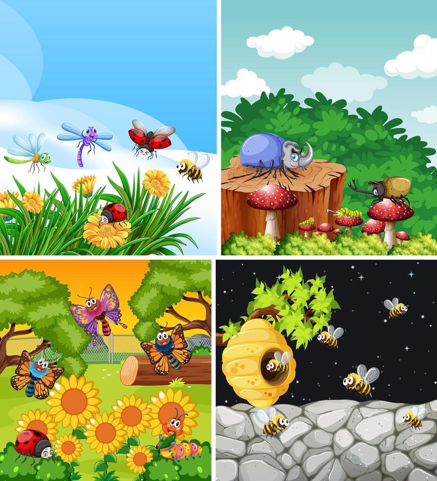 set van verschillende insecten die in de tuin leven vector