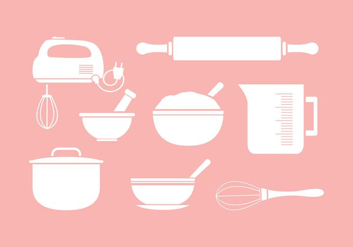 Mixing Bowl Icon Set Silhouette vector