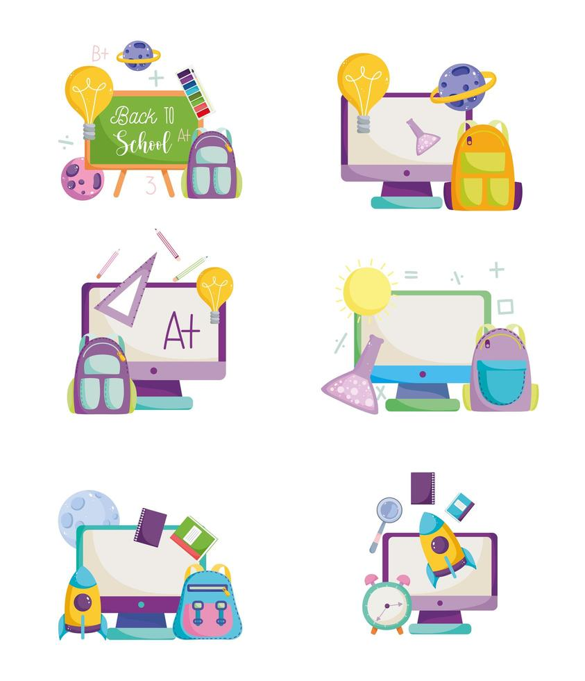 terug naar school, computers, tassen en schoolbordset vector