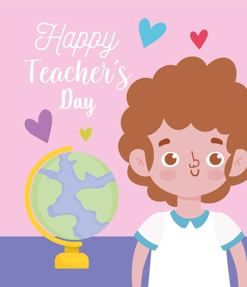 gelukkige lerarendag, studentenjongen en schoolbol vector