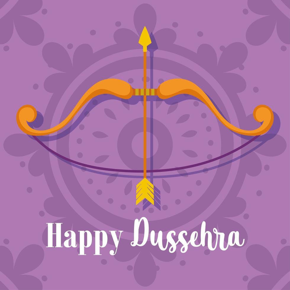 gelukkig dussehra-festival van de boogpijl paarse achtergrond van India vector