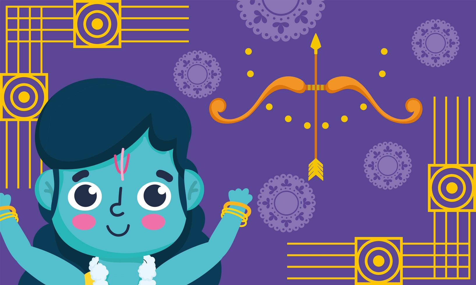 gelukkig dussehra-festival van india, heer rama cartoon vector