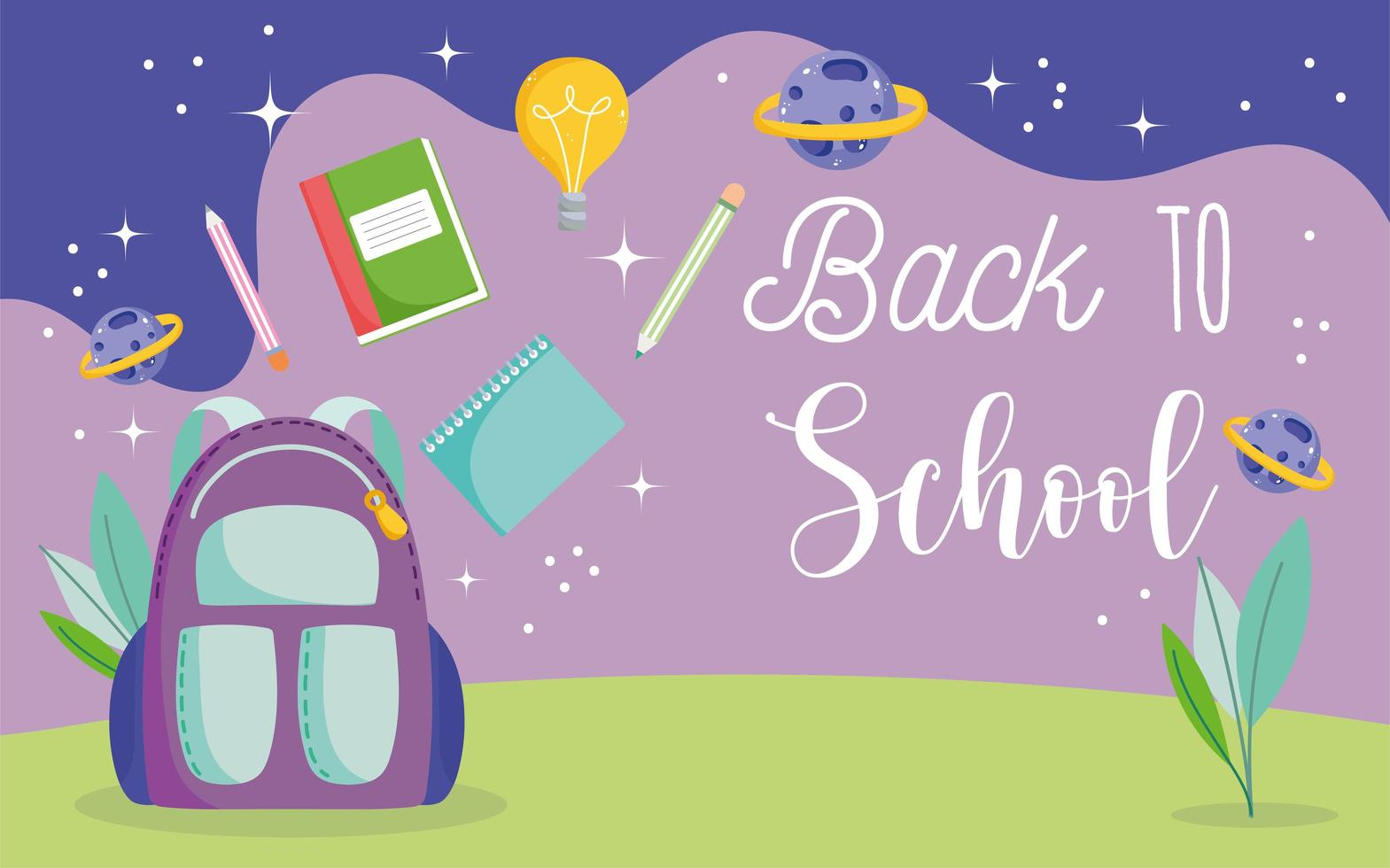 terug naar school, rugzak, potloden, boeken en planeten vector