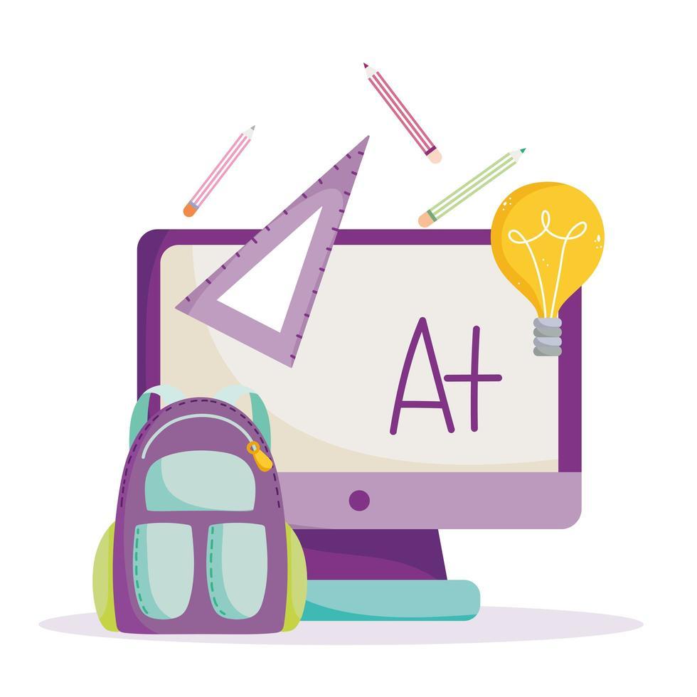 terug naar school, computer, rugzak, liniaal en potloden vector